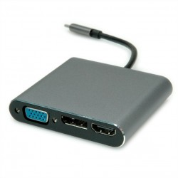 Station d'accueil USB type C, 1x 4K HDMI, 1x VGA, 1x DP, 1x Fast Ethernet Roline