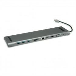 Station d'accueil type C USB 3.1 Gen 2, 4K HDMI/Mini DP, VGA, 3x USB 3.1 Gen 1, Card Reader, Gigabit Ethernet, Audio.