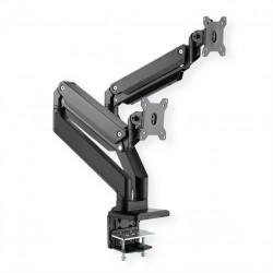 Support double LCD à gaz, 5 axes de rotation, max. 15 kg ROLINE