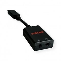 Adaptateur type C - 2x 3,5mm audio, M/F, 0,13 m ROLINE