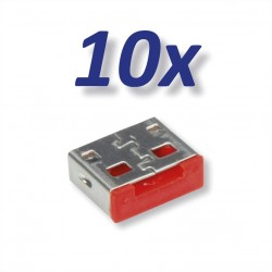 USB Lock - bloqueur de port USB, rouge, 10x