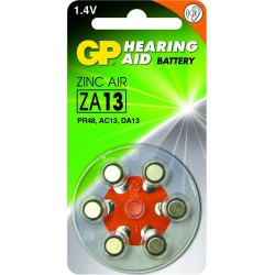 Blister 6 piles auditives ZA10 - PR70 - Jaune GP